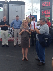 Delegate Kathy Afzali speaks about the Gas Tax at the Frederick, Md. event.