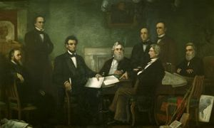 From left: Edwin M. Stanton, Salmon P. Chase, Abraham Lincoln, Gideon Welles, Caleb B. Smith, William H. Seward, Montgomery Blair, and Edward Bates.